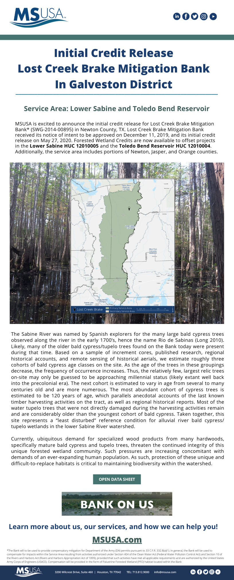 Initial Credit Release Announcement – Lost Creek Brake Mitigation Bank, located in Newton County, Texas, has received its initial credit release on May 27, 2020.