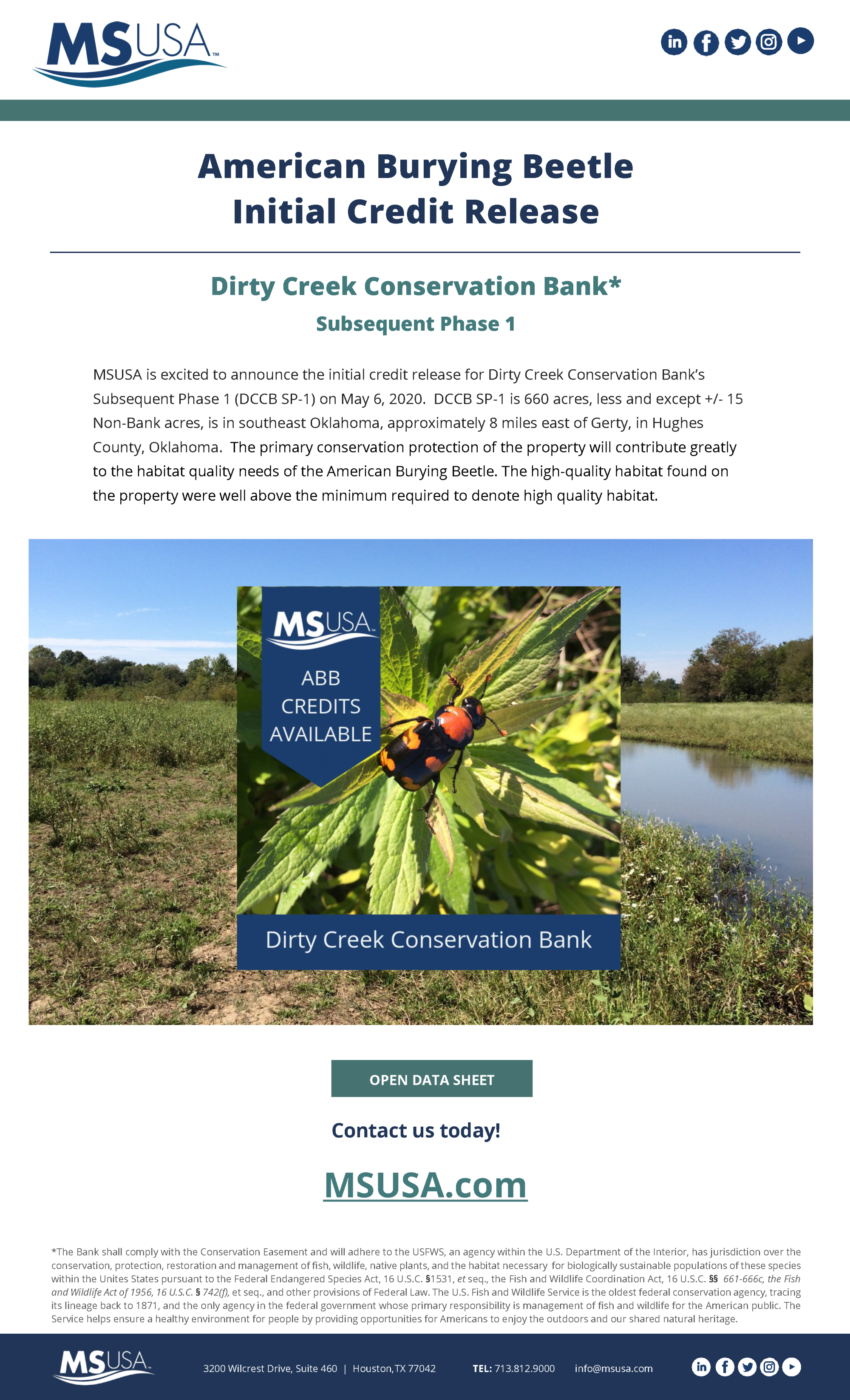 Initial Credit Release Announcement – Dirty Creek Conservation Bank SP-1, located in Hughes County, Oklahoma, has received its initial credit release on May 6, 2020.