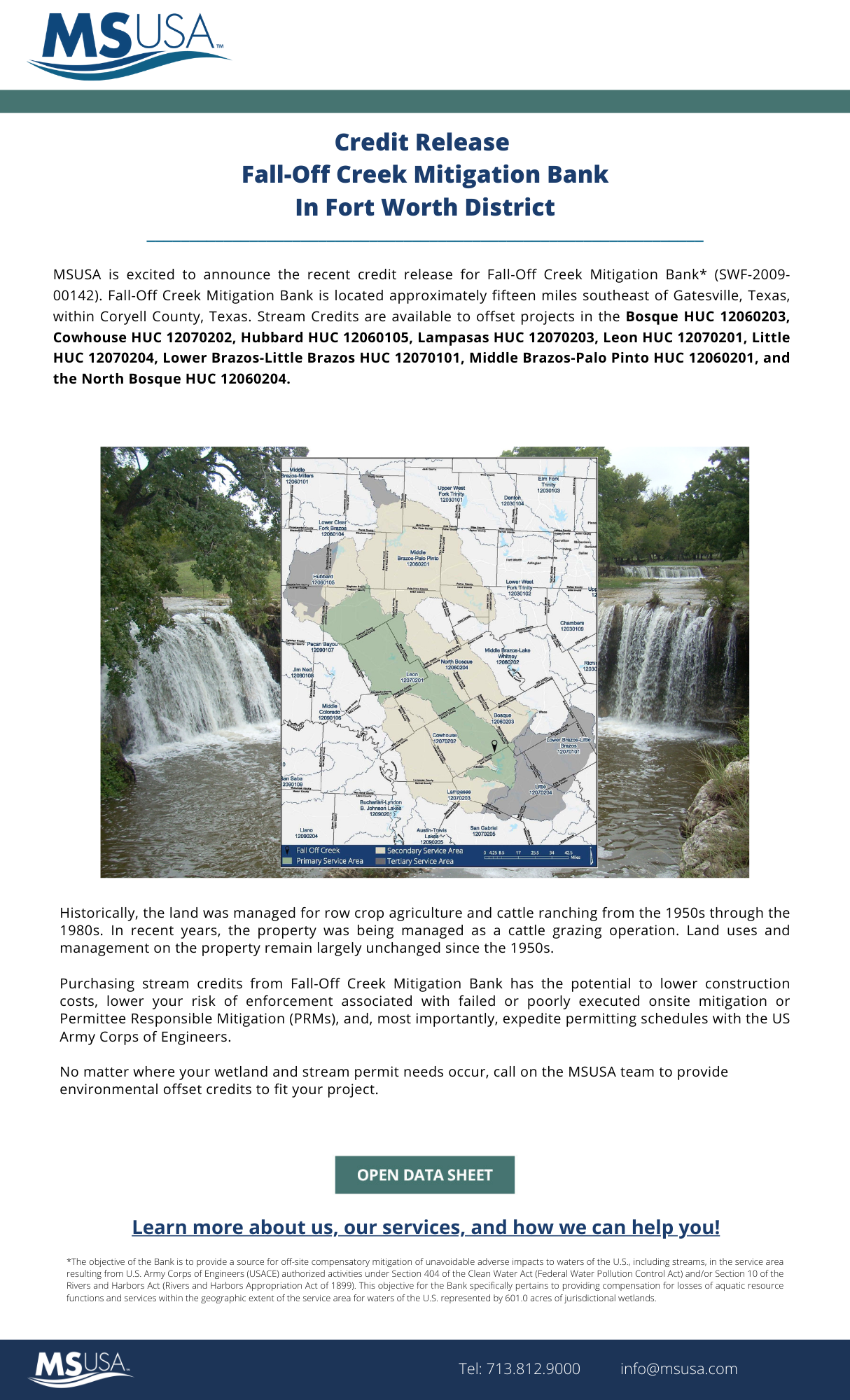 Credit Release Announcement – Fall-Off Creek Mitigation Bank, located in Coryell County, Texas, has received a credit release on June 1, 2021.