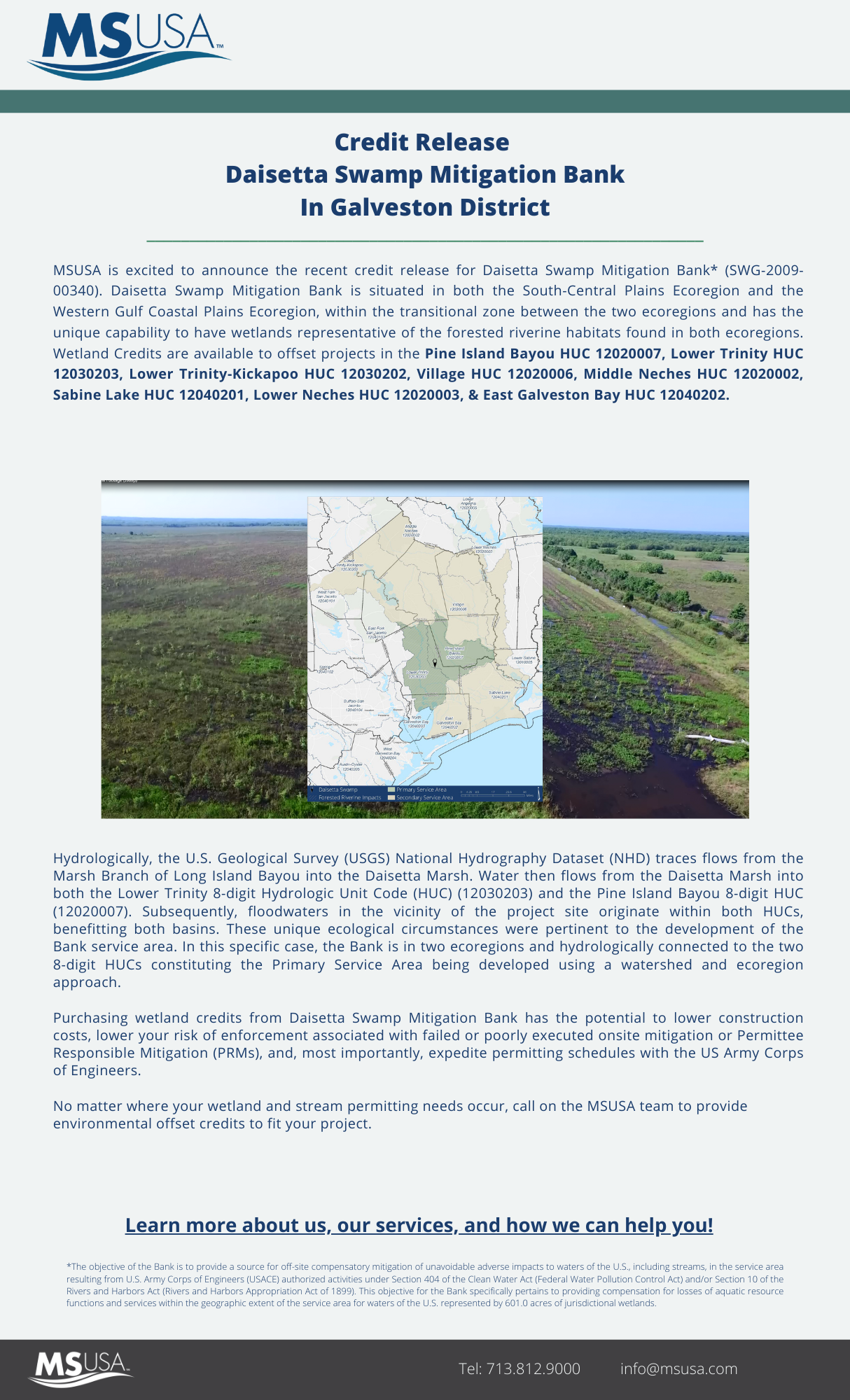 Credit Release Announcement – Daisetta Swamp Mitigation Bank, located in Liberty County, Texas, has received a credit release on July 30, 2021.